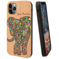 Elephant Rainbow Wood Phone Case Optional Screen Protector or Car Mount, Wireless Charging - iProductsUS