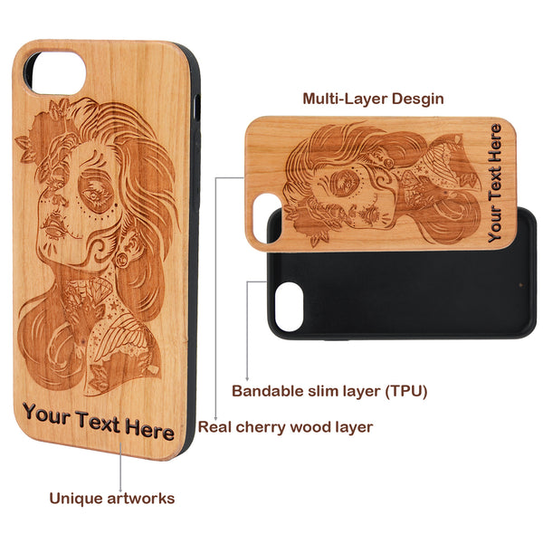 Our Day of the Dead Skull Wooded Printed Case with Custom Name for iPhone 6,6S,7,8, Plus, X,XS,XS Max, Xr By iProducts US