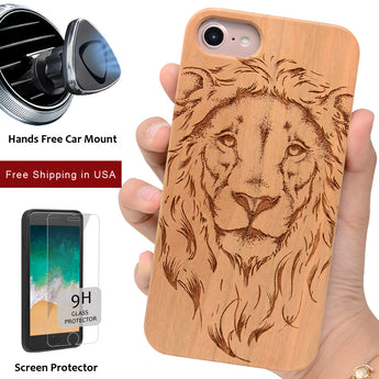 Lion Engraved Real Wood Case by iProducts US Compatible for iPhone