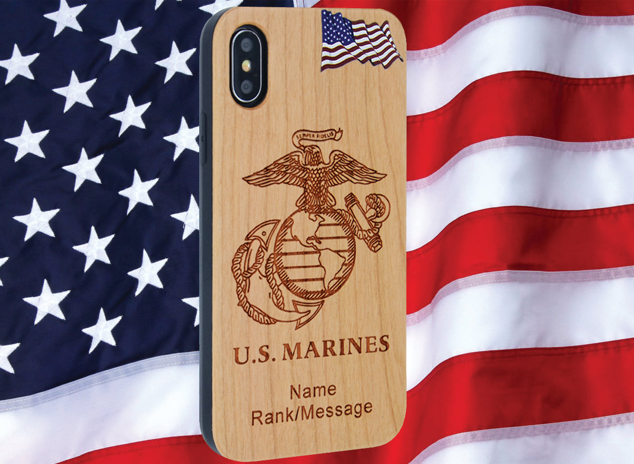 U.S. Marines Phone Case Personalized with Rank / Name Engraved for iPhone and Samsung Galaxy Phones - iProductsUS
