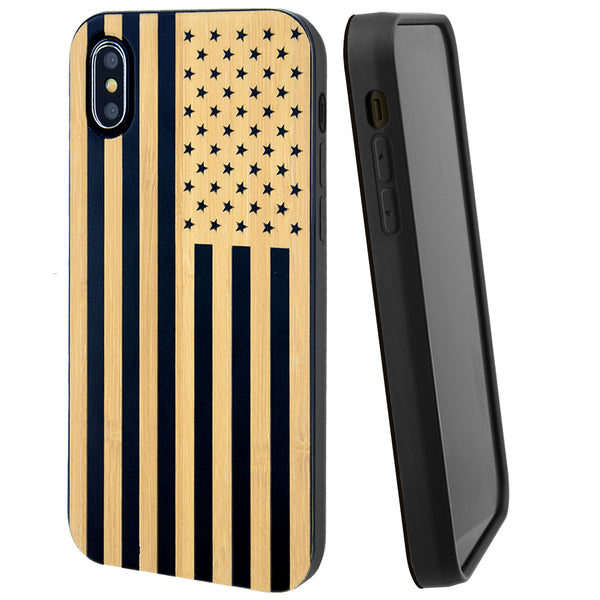 American Flag Phone Case Offers Screen Protector or Magnetic Car Mount (Black Bamboo)