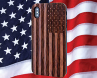 US American Flag Wood Phone Case