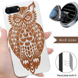White Wood Engraved Owl phone Case by iProducts US