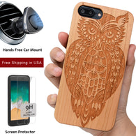 Owl Wood Phone Case offers Screen Protector or Magnet Car Mount - iProductsUS