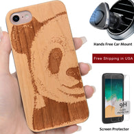 Panda Wood Phone Case Offers Screen Protector or Magnetic Car Mount - iProductsUS