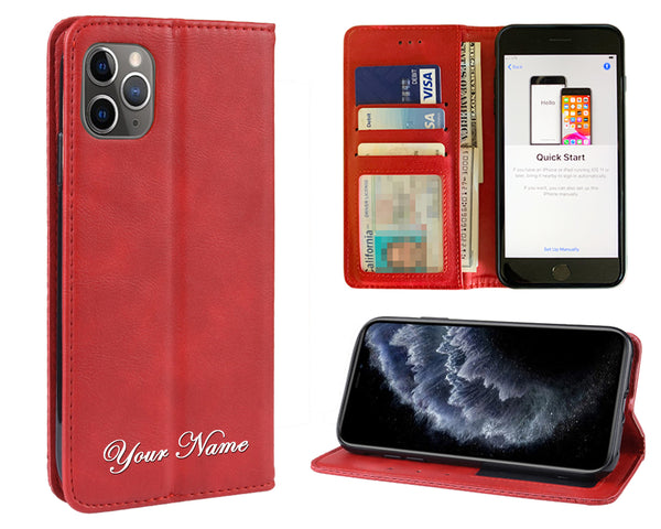 Red Leather Wallet Personalized Phone Case with Screen Protector for iPhones