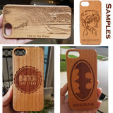 Create Your Own Engraved Custom Wood Case, with Magnetic Car Mount for iPhone 6,7,8,X, Plus
