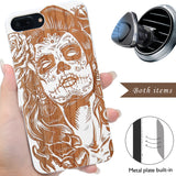 Sugar Skull lady Engraved Wood Case, Car Mount or Protective Glass for iPhone 6,6S,7,8, Plus, X, XS, XS Max, XR by iProducts US