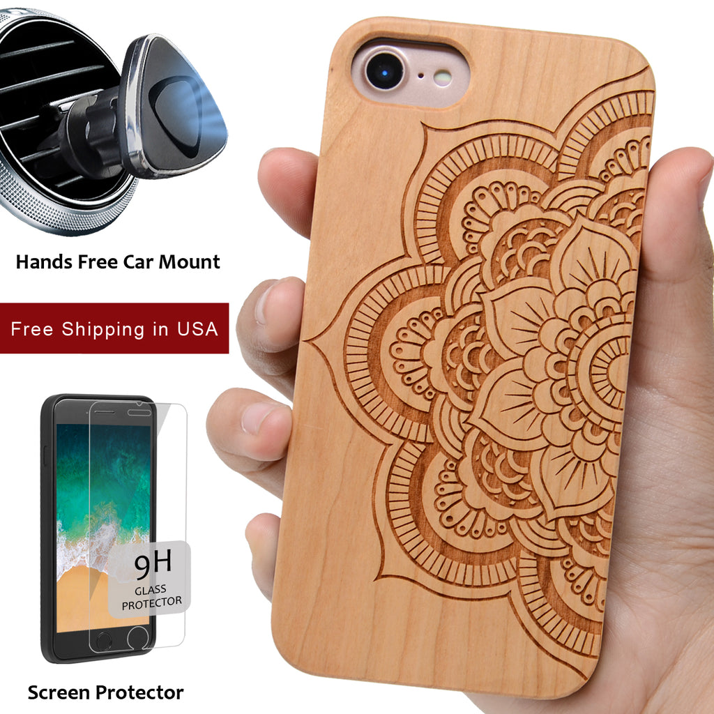 Mandala Sunflower Phone Case Offers Screen Protector or Magnetic Car Mount - iProductsUS