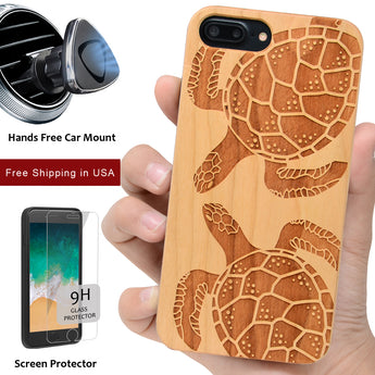 Two Turtle Wood Protective Engraved Case by iProducts US
