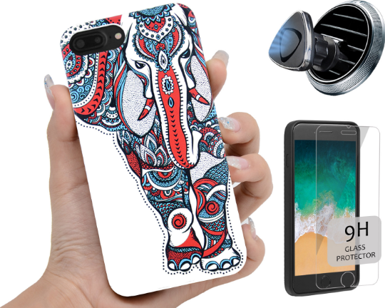 Elephant Color Phone Case Personalized with Optional Screen Protector or Car Magnetic Mount - iProductsUS