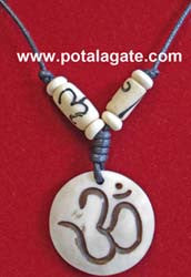 Sanskrit Om Bone Necklace #15