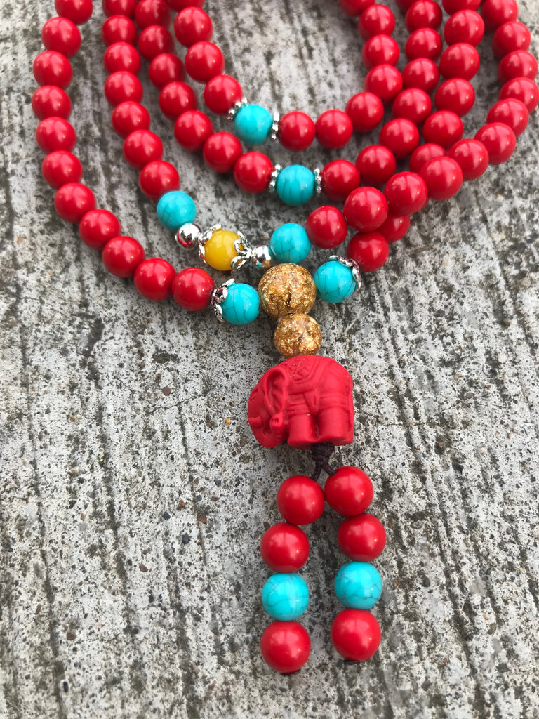 Cinnabar Mala with Elephant Guru Bead #48
