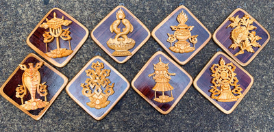 Eight auspicious symbol wood hanging