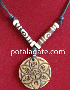 Lotus with Mantra Bone Necklace #32
