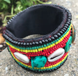 Beaded Bracelet: Red & Green #38