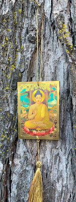 Buddha and Om Talisman; Hanging for Rear View Mirror.
