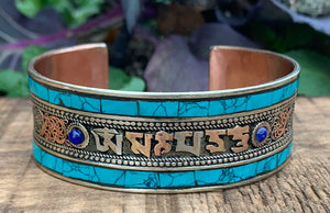 Turquoise Cuff with Mantra