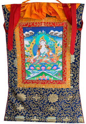 White Tara Thangka in Medium