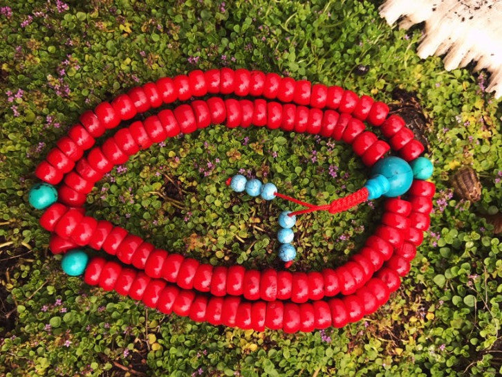 New Dyed Coral Mala  #28
