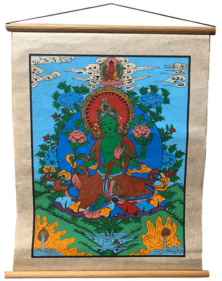 Green Tara Paper Thangka Medium