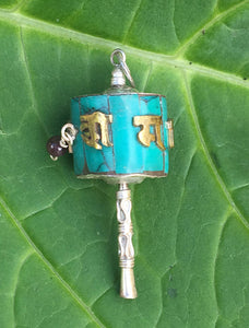 Turquoise Prayer Wheel Pendant #4
