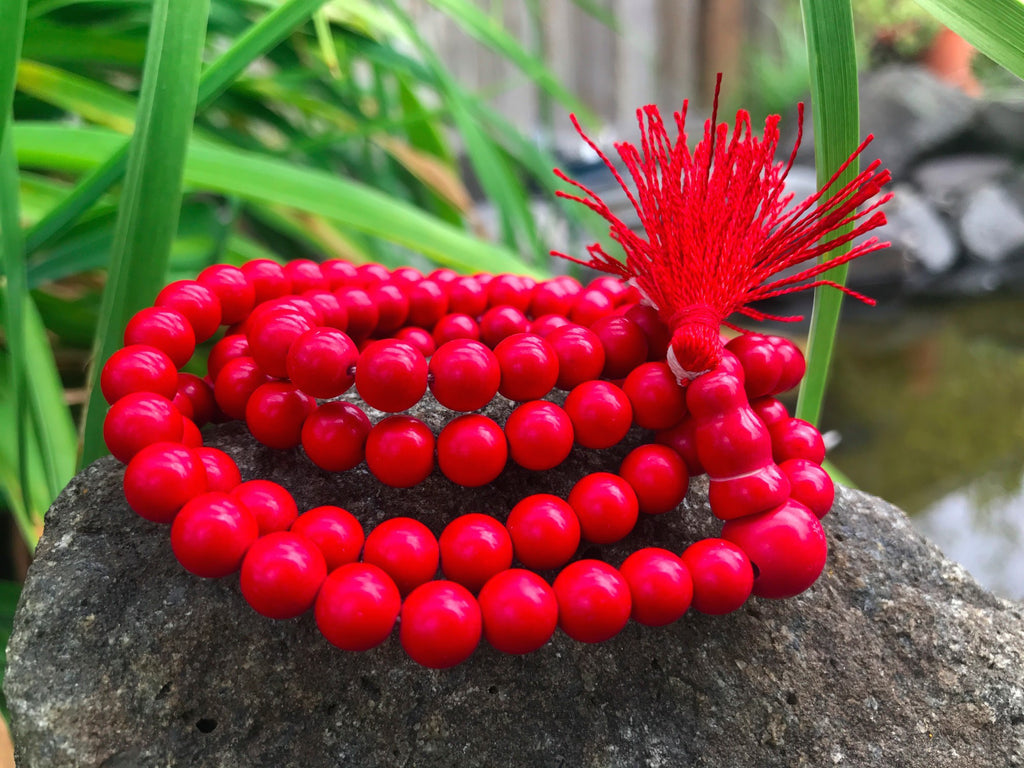 Red Coral Mala Dyed #43