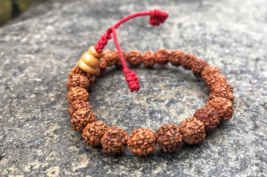 Rudraksha Wrist Mala with Red Cord #20