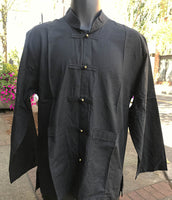 Tibetan Elegant Raw Cotton Shirt : Black #9