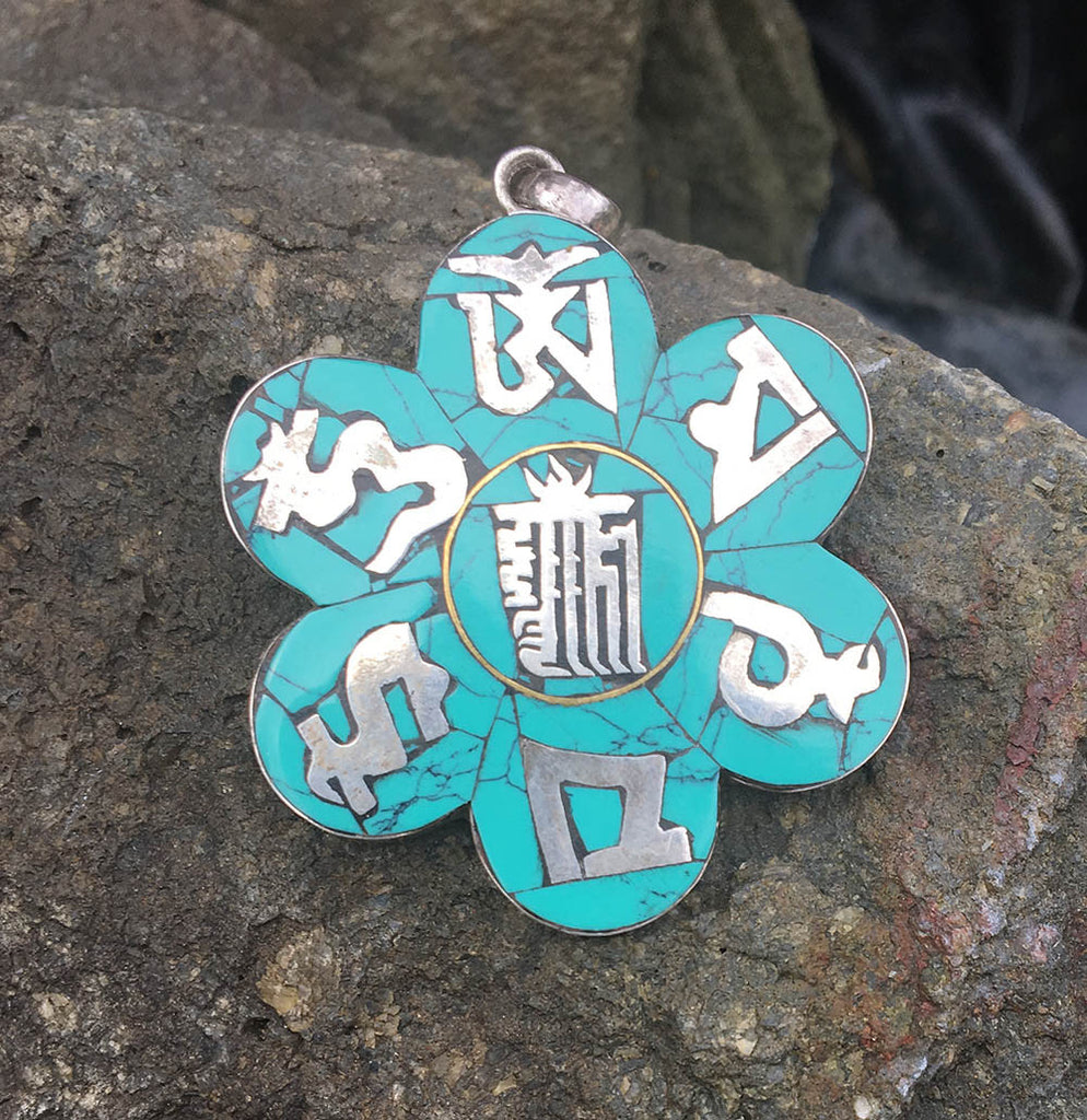 LOTUS WITH MANTRA PENDANT #12