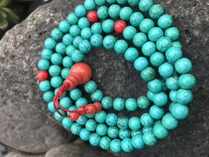Turquoise with Coral Mala #41