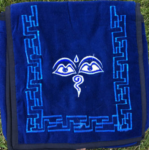 Buddha Eyes Embroidered Velvet Bag - Large #6