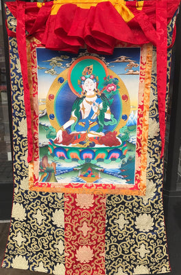 White Tara Thangka painting.