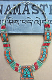 Turquoise with Coral Necklace #47