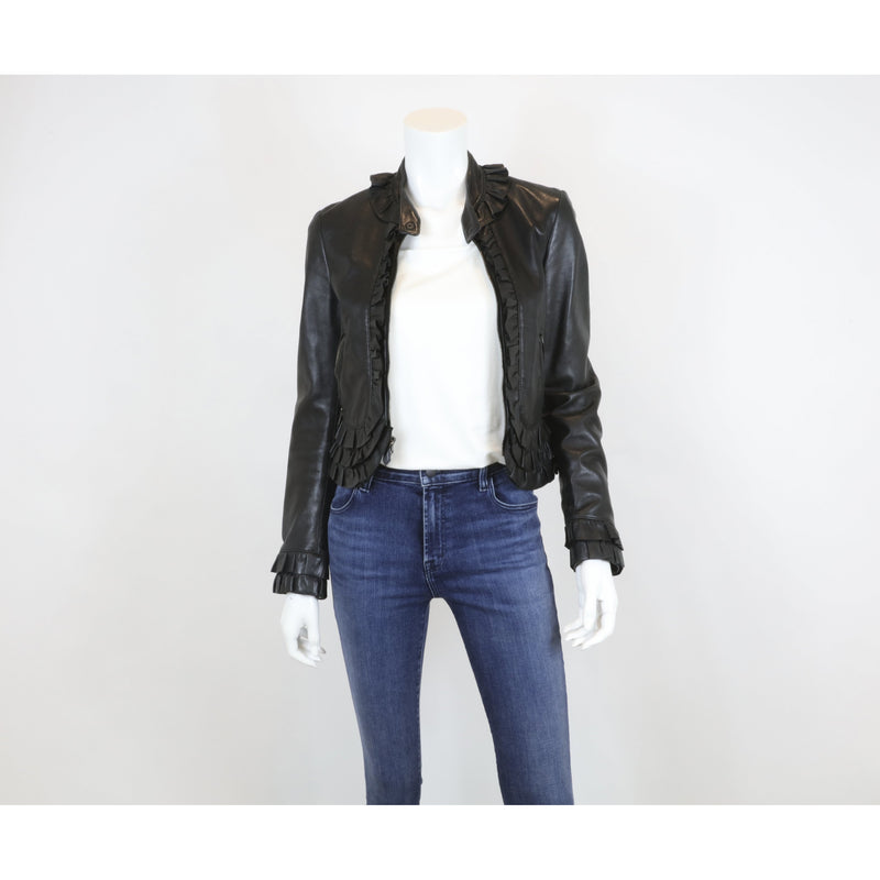 Women's Moschino Size 8 Black Cropped Leather Jacket - colletteconsignment.com