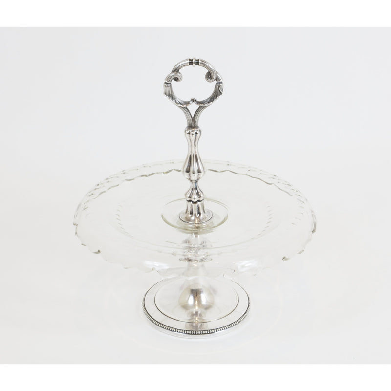 Christofle Crystal and Silver Plated Standing Pastry Tray - colletteconsignment.com