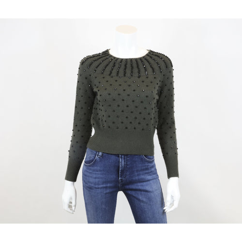 P.A.R.O.S.H.  wool sweater with black beads size s olive green - colletteconsignment.com