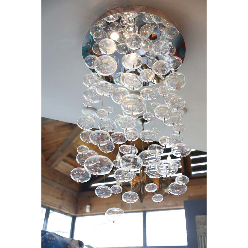 Round Mirrored Ceiling Fixture w/ Iridescent Bubbles - colletteconsignment.com