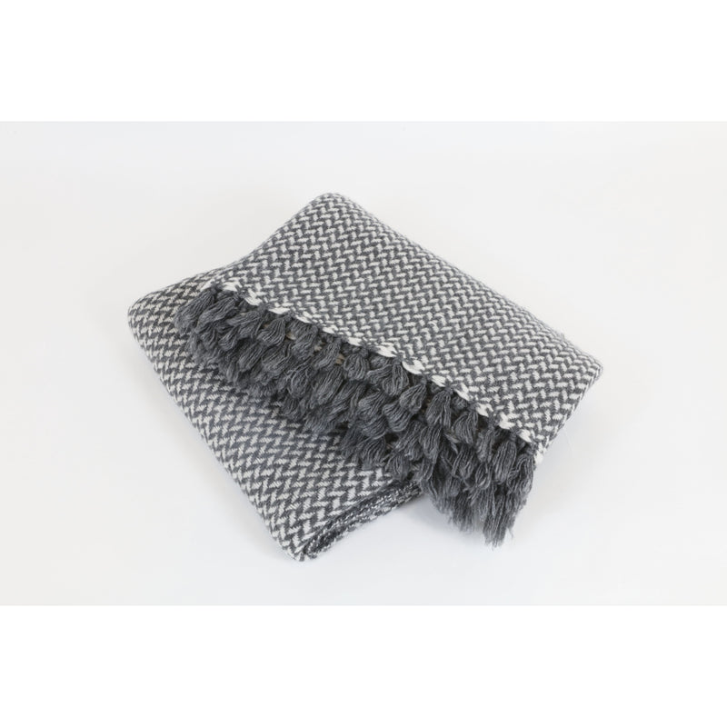 Nepalese Grey & White Chevron Cashmere Throw - colletteconsignment.com