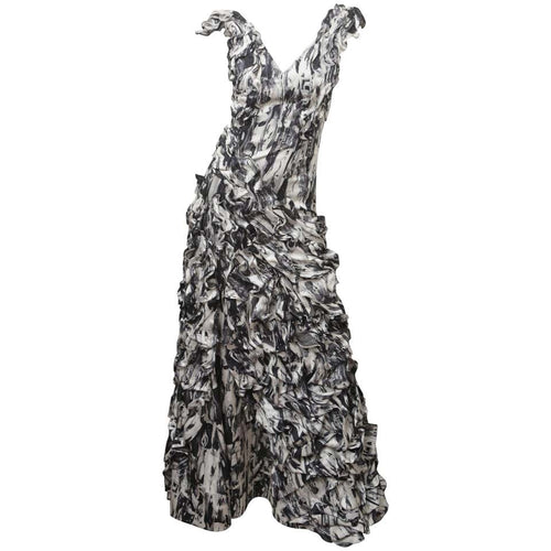 Carlos Miele Womens Size 36 Black/White Silk Gown EXP - colletteconsignment.com