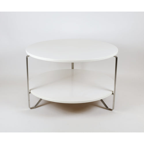 Chrome and White Cocktail Table - colletteconsignment.com