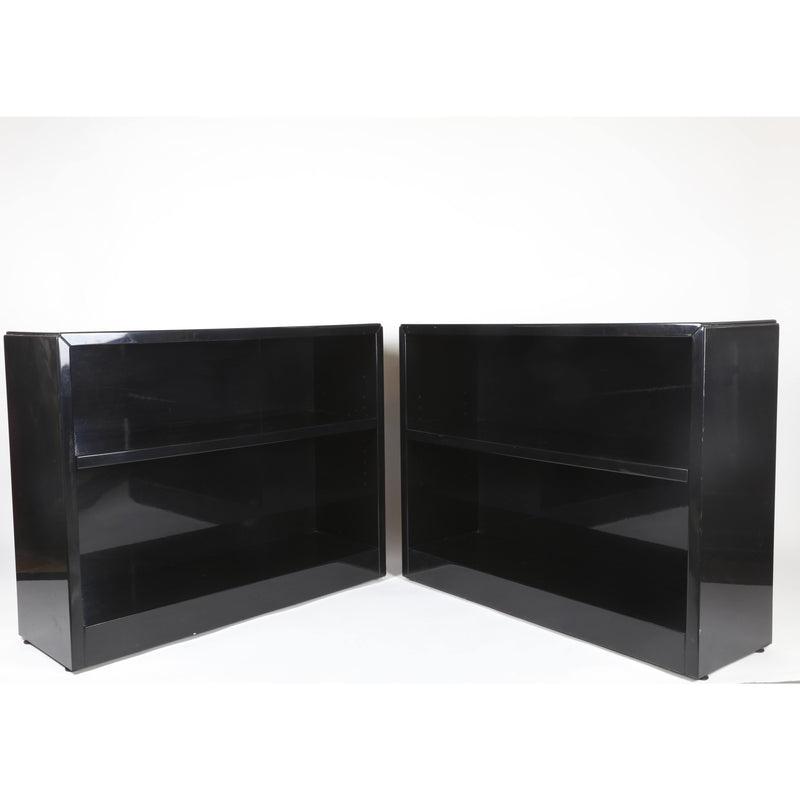 Pair of Black Lacquer Bookcases - colletteconsignment.com