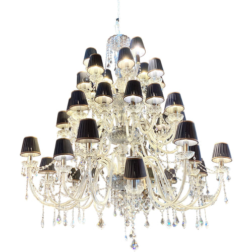 Large 3 Tier Crystal Chandelier - colletteconsignment.com
