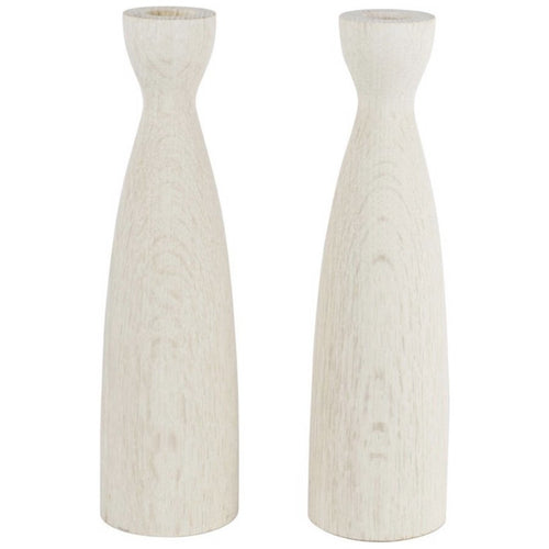 Pair of Triple Bleached White Oak Candlesticks - colletteconsignment.com