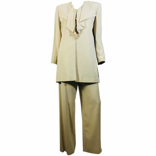 Valentino Size 8 Draped Neckline Button Up Jacket And High Waisted 2PC Pant Suit - colletteconsignment.com