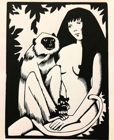Guy Colwell - Woman with Langur Print