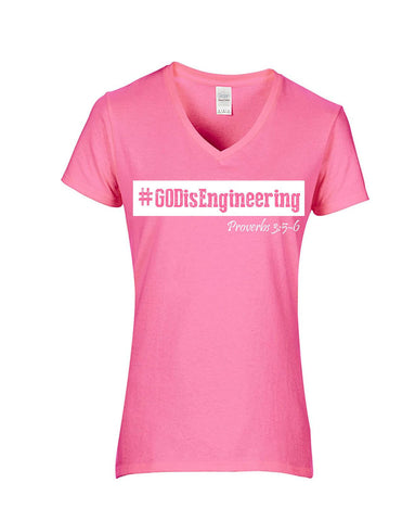Series 3  #GOD is Engineering Ladies V-Neck T-Shirt