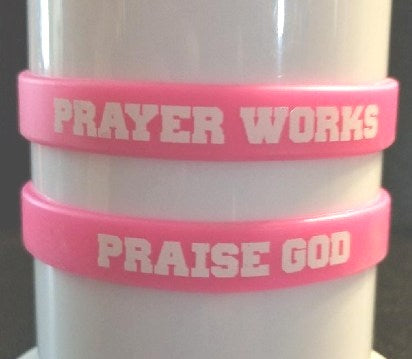 Caption Wristbands Pink (PRAISE GOD/PRAYER WORKS)