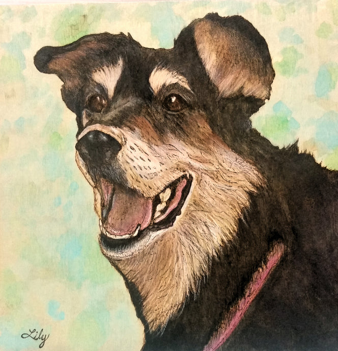 Woodburned and Watercolor Custom Pet Portrait
