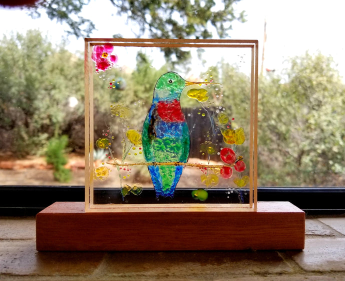 Plexiglass Hand Painted Hummingbird Window Display